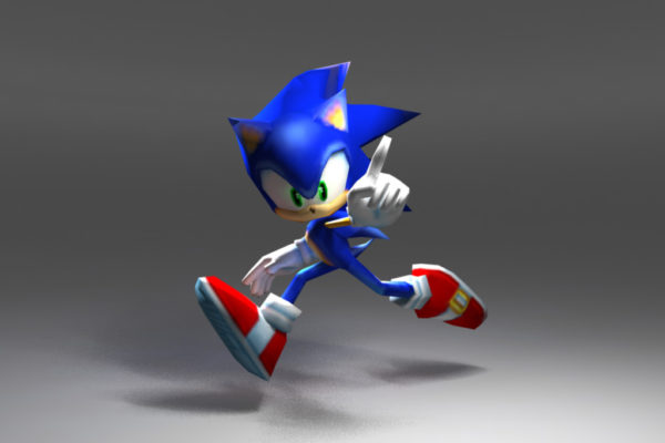 Low Poly Model of Sonic the Hedgehog for Sonic Rivals (PSP)