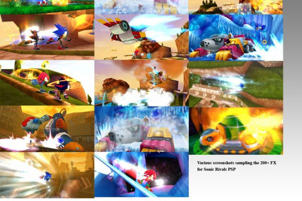Hundreds of particle and light effects for Sega's Sonic Rivals PSP