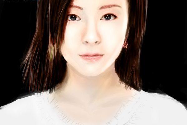 Painting based on a portrait of Utada Hikaru