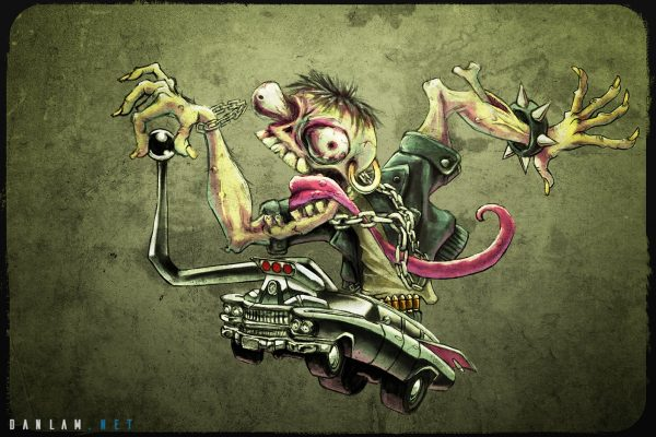 Rat Fink styled Zombie Hearse